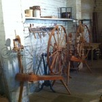 Spinning wheels at the blanket factory of Sutter's Fort