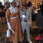 Ann Wass and Adam MacPharlain in their reenactment and Full Cleveland ensembles