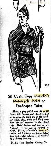 "5a17cee9d6120f ""Sportswear Knitted Fashions: Ski Coats Copy Mussolini's Motorcycle Jacket  Or Fan-Shaped Yokes."" 1933. Women's Wear Daily, Sep 01, 12."