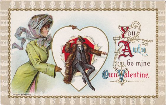 """You Auto be mine Own Valentine"" antique H. Wessler embossed postcard"